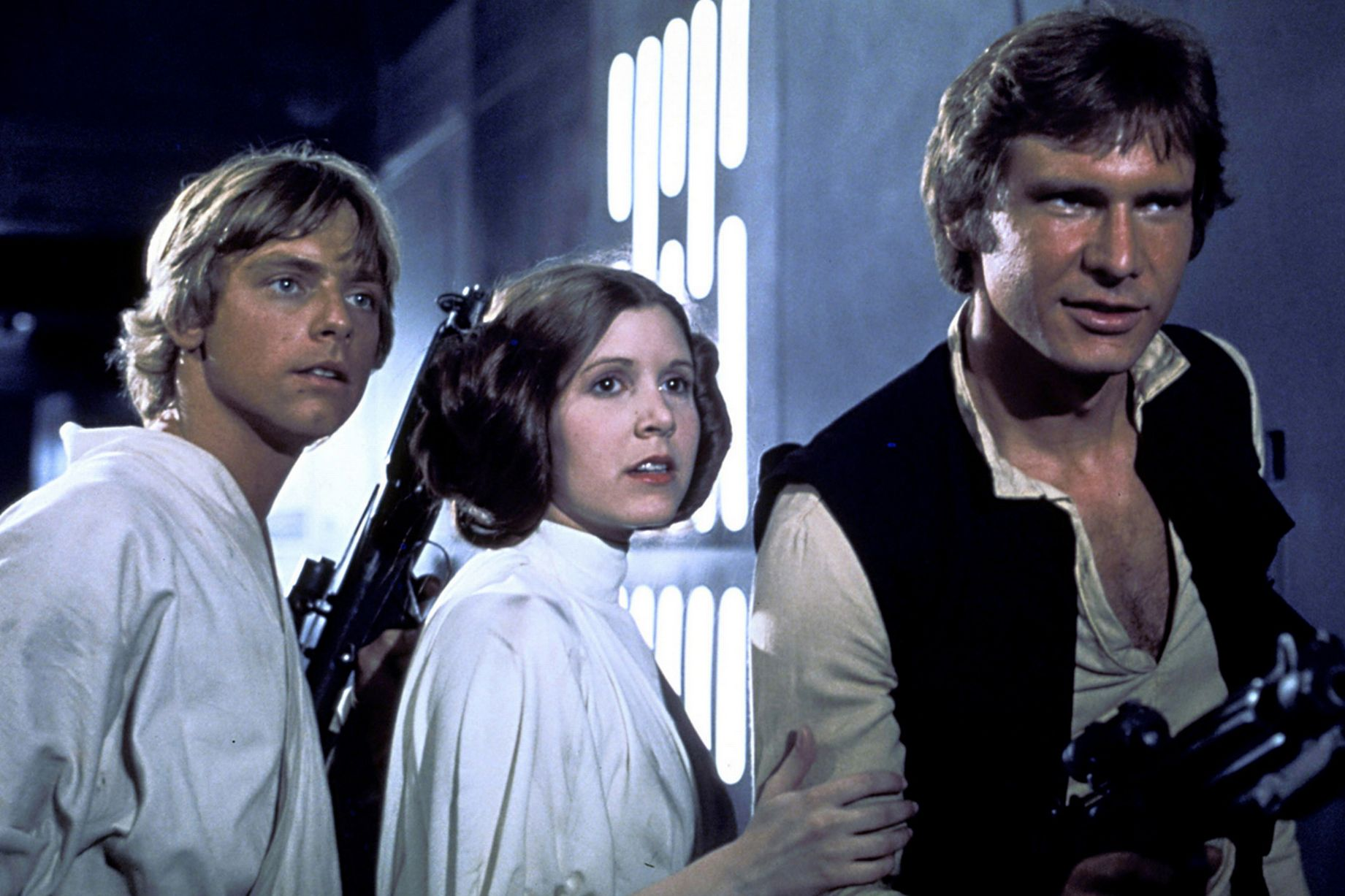 Mark Hamill, Carrie Fisher, and Harrison Ford in _Star Wars_